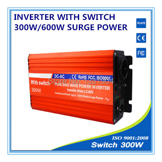 pure sine wave power inverter 300W DC24V to AC220V CE RoHs grid tie inverter,solar power inverter with auto switch,car inverter