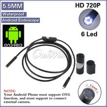 Android USB Endoscope 6 LED 5.5mm Lens Waterproof Inspection Borescope Tube Camera with 5M Cable(China (Mainland))