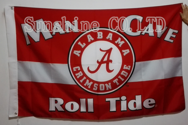The University of Alabama NCAA Man Cave Flag hot sell goods 3X5FT 150X90CM Banner brass metal holes AC11(China (Mainland))
