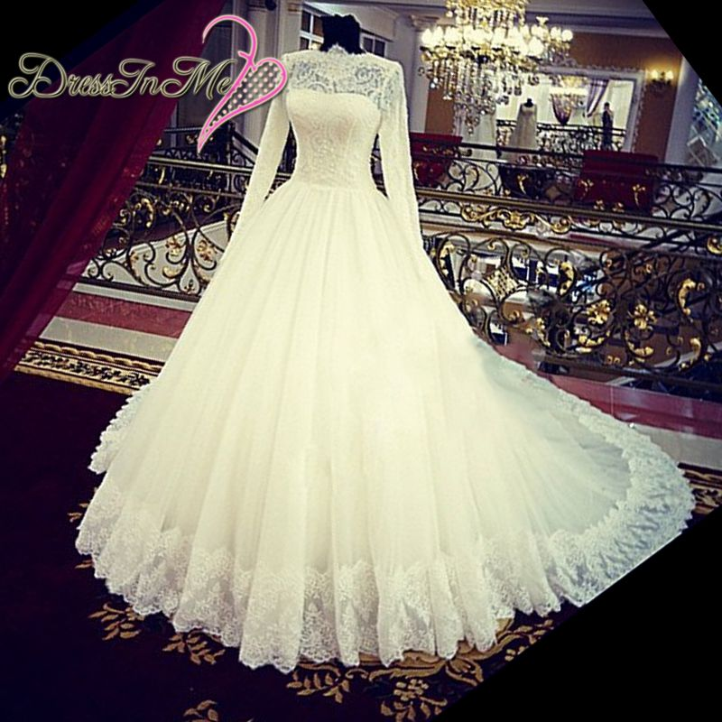 Vintage High Neck Long Sleeves Ball Gown Pearl Beaded Lace Muslim Wedding Dress Royal Train(China (Mainland))