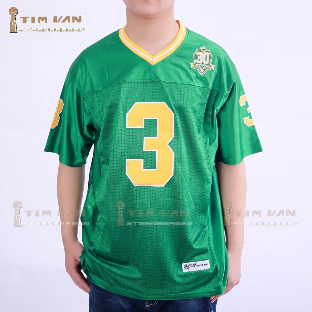TIM VAN STEENBERGE Joe Montana 3 Notre Dame Fighting Irish Sewn Football Jersey-Green(China (Mainland))