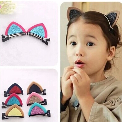 1Lot=2Pcs Lovely Cat Ear Hairpins Hair Ornaments Hair Jewelry Children Hair Accessories Girls Hair Clip Kids Barrettes Hairpins(China (Mainland))