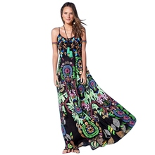 Women Bohemian Long Swing Dress Strappy Floral Sleeveless Maxi Dresses for Summer(China (Mainland))