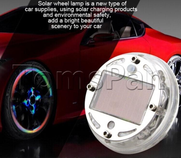High quality 4pcs/lot Colorful Waterproof flash Glare auto Car Solar energy wheel LED Light Lamp for ferrari decorative Lighting(China (Mainland))
