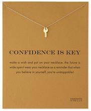 Hot Sale Sparkling Key gold Pendant necklace short paragraph Sparkle Key golden Clavicle chain 18k Statement Necklace