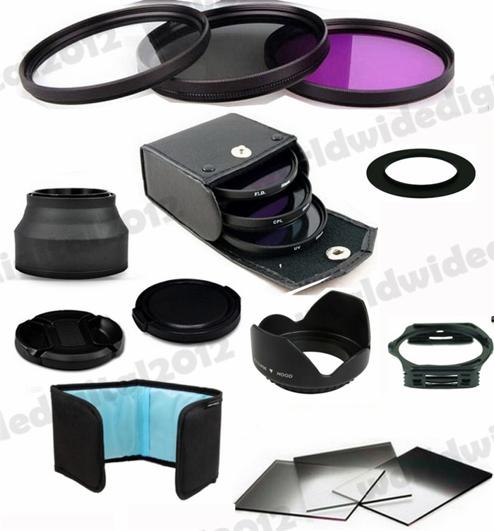 58MM Filter for Canon Rebel T4i T3i T3 T2i T1i XT XS XSi 18-55mm + Lens Hood + Complete Square Filter Kit for Cokin P F8(China (Mainland))
