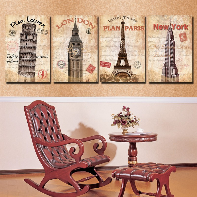 4 pieces modern abstract london new york oil paintings art for Modern home decor pieces