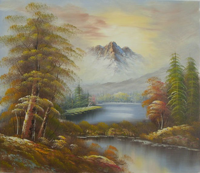 Natural scenery canvas oil paintings on sale home hotel decoration hand painted retail and Home decor paintings for sale india