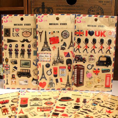 1pcs/lot New 3D Epoxy British Cartoon style decorative stickers series sticker/hot selling decoration phone label stickers(China (Mainland))