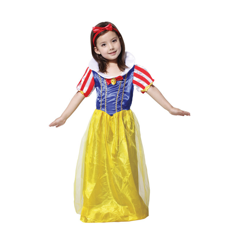 Factory Direct Sale Girls Sassy Prestige Snow White Fairy Story Princess Fancy Dress Child Cosply Party Halloween Costume(China (Mainland))