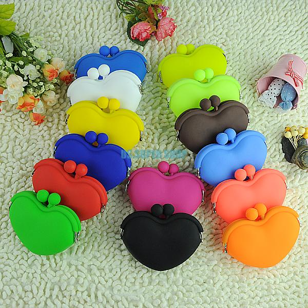 Гаджет  EQ6245 Lovely Girls Jelly Silicone Heart Shaped Change Coin Key Pouch Purse Wallet Case None Камера и Сумки