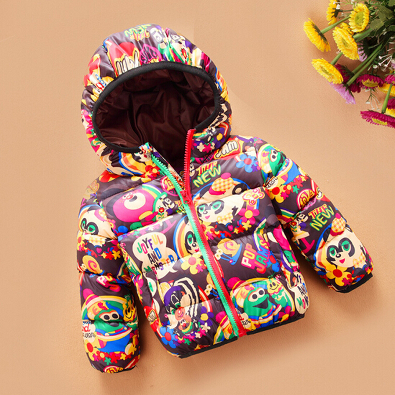 Hot 2015 New Fashion Chilrens White Duck Down Coat Print Character Hooded Girls Winter Coat Boys Jacket Parka Ropa De Bebe 1715<br><br>Aliexpress