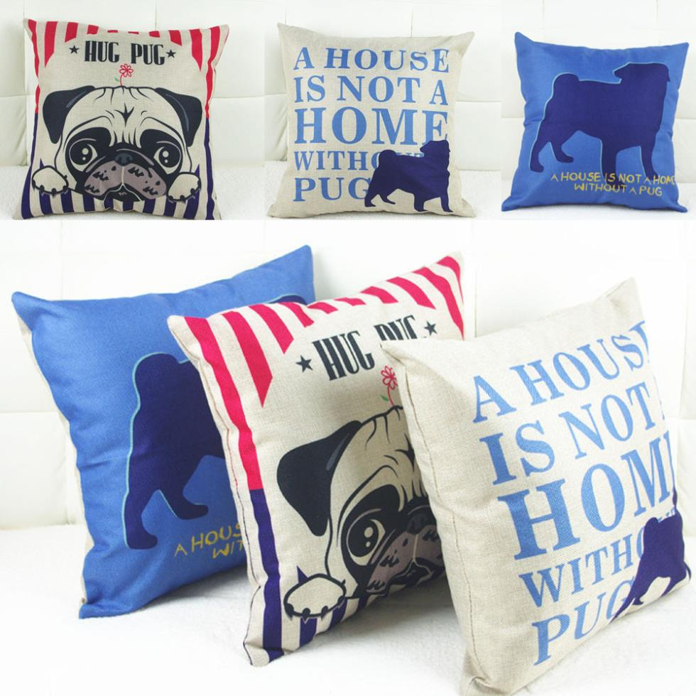 Decorative Pug Pillow Cases Cushions For Sofas 18*18