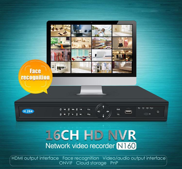 N160 стандарт onvif nvr с 16-канальный сетевой видеорегистратор Распознавание лица Интерфейс выхода HDMI видео/аудио выход интерфейс облачного хранилища
