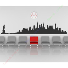 New York City Skyline Wall Stickers America USA Places Wall Art Decal Transfers Custom Made Color 4 sizes can be chosen(China (Mainland))