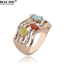 Fashion Austrian big crystal rings for women 2014 Big promotion 24k Rose Gold wedding SWA Element vintage Jewelry Wholesale(China (Mainland))