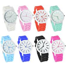 8 colores relojes de silicona correa relogio masculino mujeres jalea de moda cristal de cuarzo analógico redondo reloj de pulsera