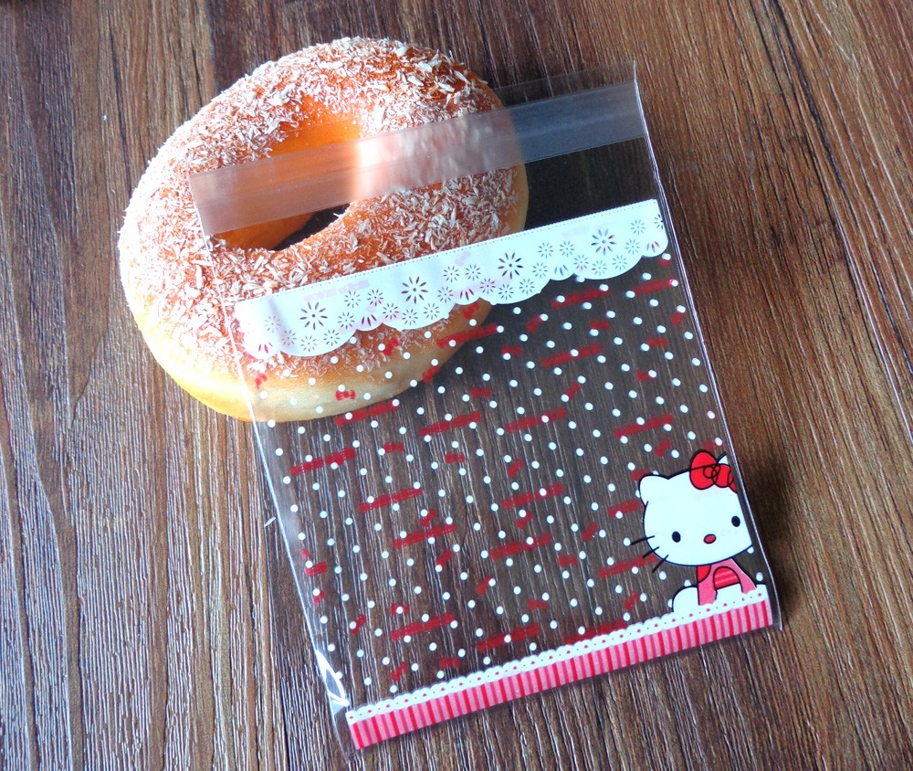 300pcs 10x10+3cm Hello Kitty Transparent Cookies Bags Self-adhesive  Cellophane Bag Candy Bags - us492