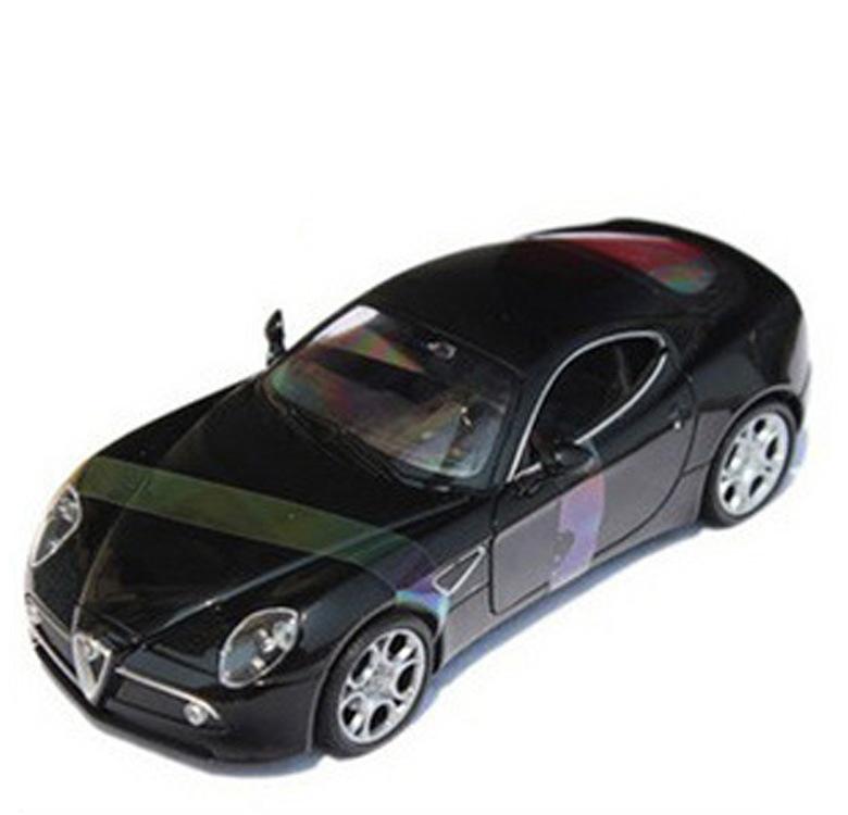 Free Shipping high simulation hot sale 1:24 alloy Wiley car model Alpha Romeo 8C black car model kids gifts(China (Mainland))