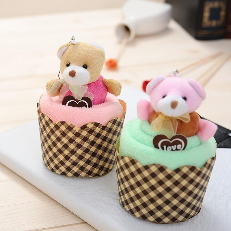 Sweet love Cubs bear pendant cupcake Wedding gifts for guests Favor promotional birthday gifts face cake towel Superfine fiber(China (Mainland))
