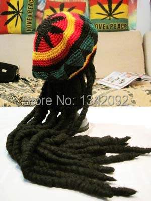 Fashion Punk Knitted Jamaica Rasta Hat With Dreadlocks Wig Jamaican Fancy Dress Costume Halloween Skullies Beanie Cap Wholesales(China (Mainland))