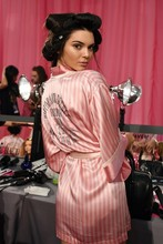 2016 spring summer  victoria  hottest fashion model  fashion show  sexy lace pink stripped sleep robes dress(China (Mainland))