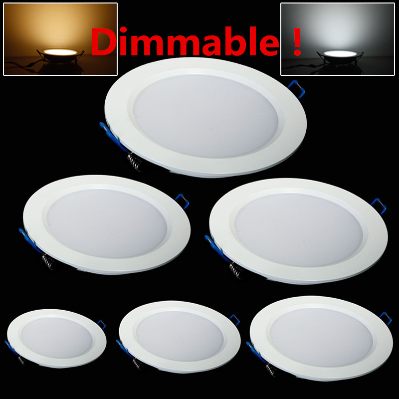 LED Downlight Dimmable 4W 6W 9W 12W 15W 25W Round Ultrathin SMD 2835 Power Driver Ceiling Panel Lights Cool Warm White(China (Mainland))