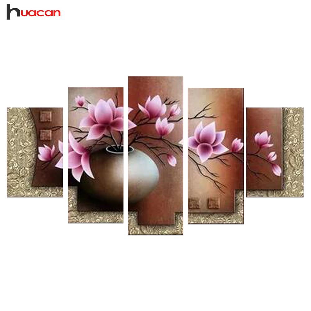 Huacan diy 5d flower diamond embroidery living room decor for Room decor 5d