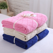 120*190CM diamond pattern swaddle big full 100% cotton knit wool baby nap blankets air conditioning blanket wool cover 11 colors