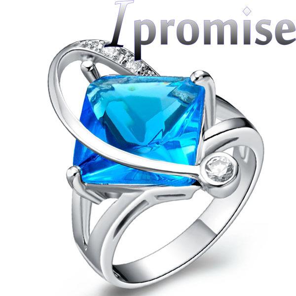 2015 hot femenino payaso cristal austriaco geométrica plaza corazón pequeño universo de plata de lujo circón anillos de la joyería 5003(China (Mainland))