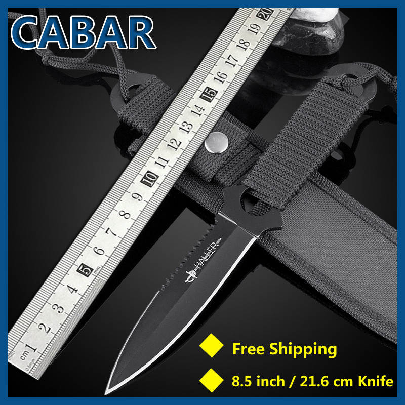 CABAR 2015 New Arrival 96mm Top Quality Steel Double edge Hunting Camping Diving Outdoor Knife Scabbard