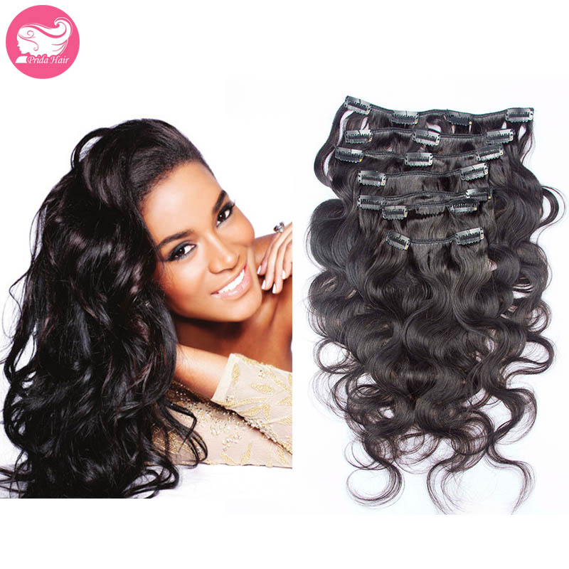 Grade 7A Unprocessed Virgin Malaysian Clip In Hair Extension 7pcs/set 120g Full Head Set Malaysian Cilp In Human Hair Extensions<br><br>Aliexpress
