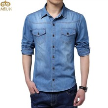 Plus Size Men Denim Shirts 5XL Cotton Slim Fit Famous Brand Pockets Camiseta Masculina 2015 New