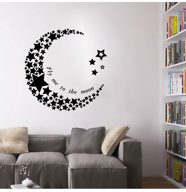 Aliexpress.com : Acquista Cartoon luna e stelle wall stickers per ...