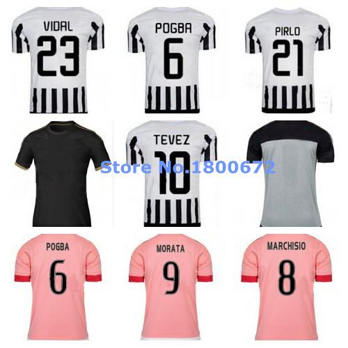 Custom All 15/16 Home Away 3rd Soccer Jersey Futbol Buffon Pogba Morata Pirlo Khedira Mandzukic Vidal 2015 2016(China (Mainland))