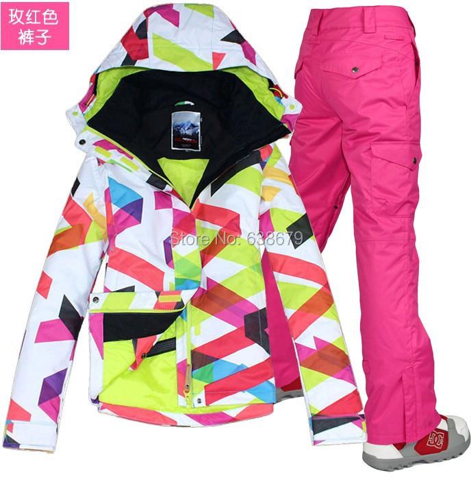 2014 femmes combinaison de ski dames costume de ski color vague lignes ski veste et pastque pantalon rouge tanche 10 k librent le bateau par sme dans - Veste Colore Femme