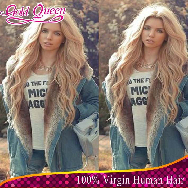 high density 613 blonde full lace wigs brazilian body wave human hair lace front virgin hair wigs baby hair for free shipping(China (Mainland))