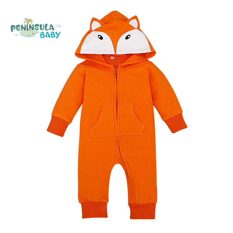 Cartoon Fox Hooded Baby Rompers Long Sleeve Clothes Newborn Boys Girls Lovely Jumpsuits Kids Costume Unisex Outfits(China (Mainland))