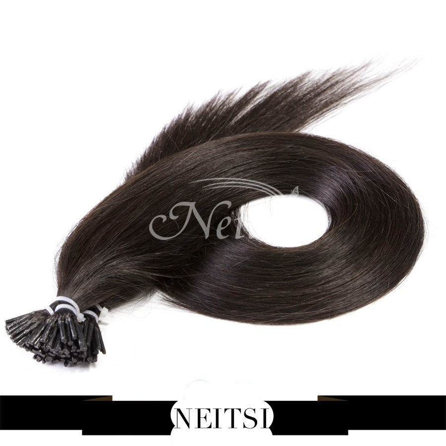 Neitsi Remy Hair Straight Extensions Keratin Stick I Tip Hair 20inch 1g/s 25s/pack 1b# Black Pre Bonded Natural Hair Extensions(China (Mainland))