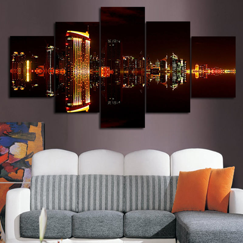 2016 5Planes Wall Painting Pictures Dubai City Night Modern Paintings Modular Posters And Prints Wall Art For Living Room(China (Mainland))