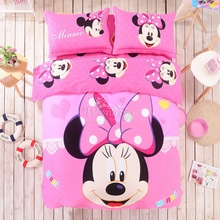 Pink Minnie Mouse duvet cover set winter comforter cover bedsheet Pillowcase 4pc bedding set Twin full queen king size Bedlinen(China (Mainland))