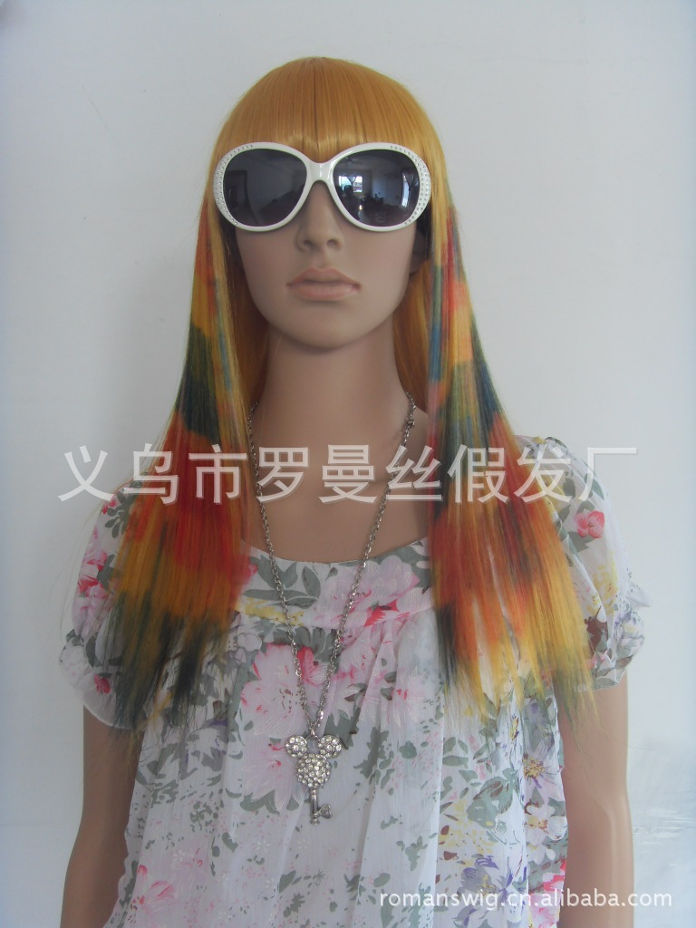 Long straight hair Qi Liu color wholesale trade bjd Halloween dance party color day wigs(China (Mainland))