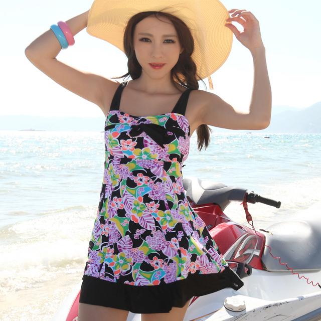 Women's fashion one-piece dress hot spring swimwear big small push up plus size swimwear female swimsuits