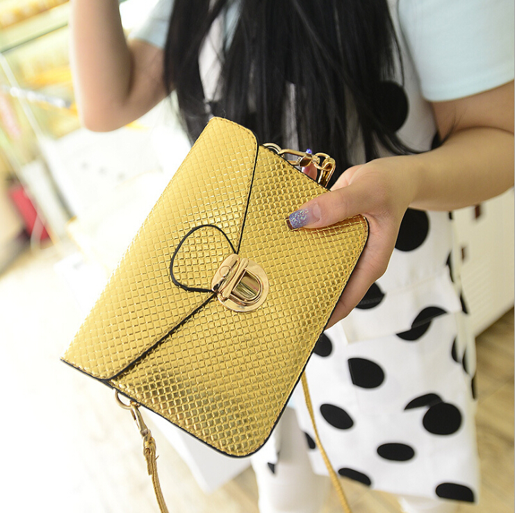 New 2015 Women Gold Mini Handbags,Latest Styles Mini Tote Bag,2 Color Fashion Mini Shoulder Bags,Lady Mini Quilted Crossbody Bag(China (Mainland))