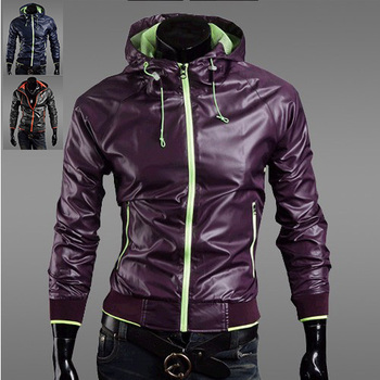 Europe and American style Men's Spring Autumn hooded Jacket boutique waterproof clothes 3 color 4 size 122028