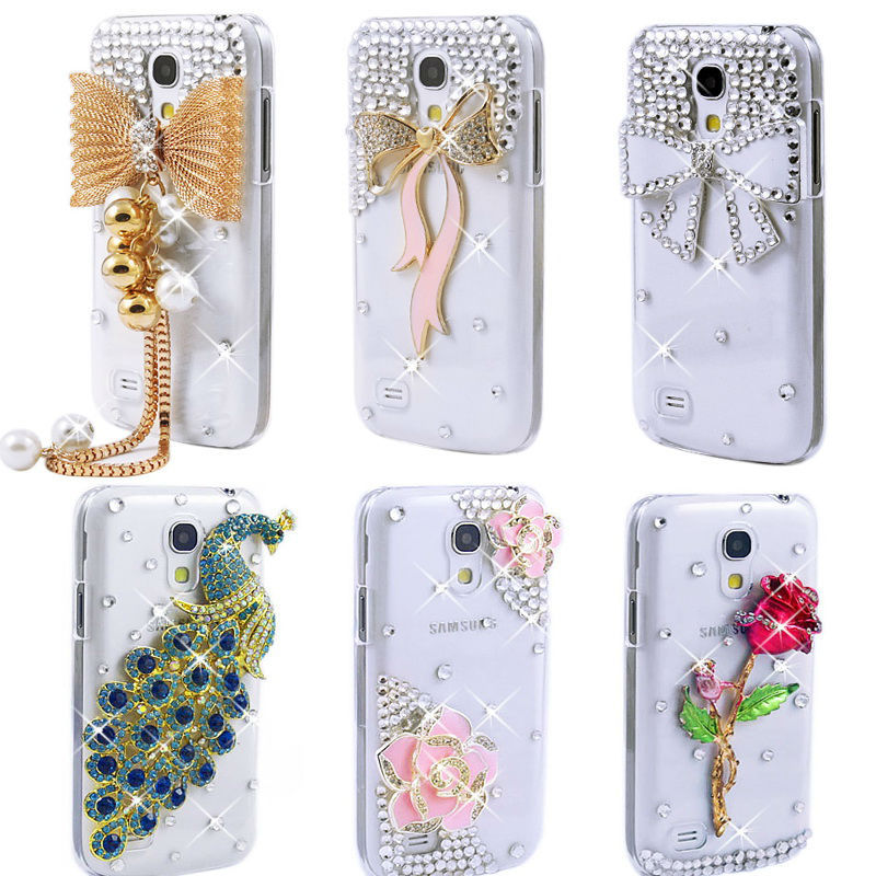 3D Bling Crystal Diamond Daisy Camellia Rose Bear Peacock Ribbon Bow Eiffel Cross Phone Cases Samsung Galaxy S4 mini Cover - huhu's store