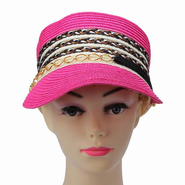 Chain Decor Rose Red Woman Straw Hat Patchwork Pattern Lady Casual Sun Beach Peaked Cap(China (Mainland))