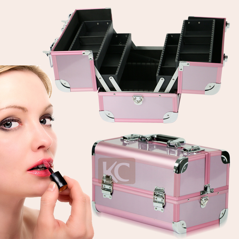 Freeshipping to Russian Lovely pink clear makeup case high quality aluminum finished silver metal framed cosmetic case(China (Mainland))