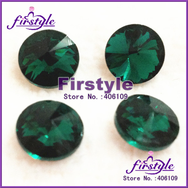 10mm Crystal Rivoli beads EMERALD color Rivoli Crystal,round pointback rhinestones silver base free shipping(China (Mainland))