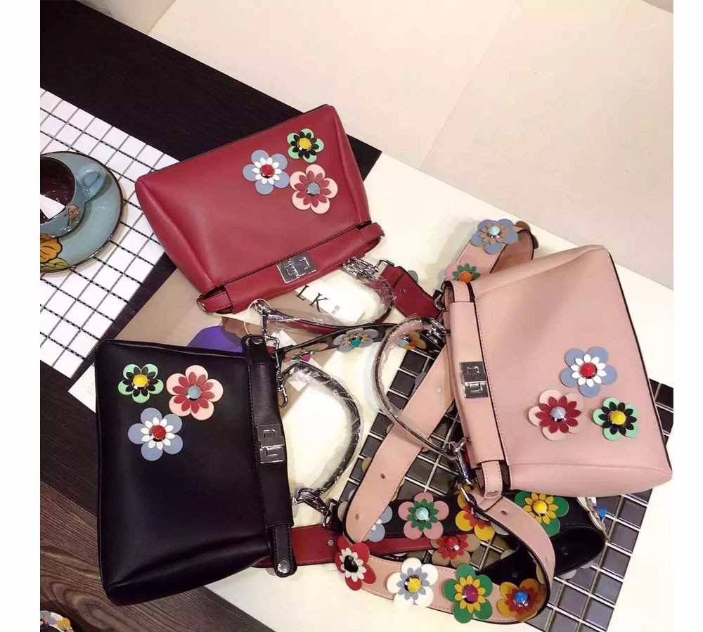 women peekaboo bags flowers high quality split leather messenger bag shoulder mini  handbags tote famous brands designer bolsa